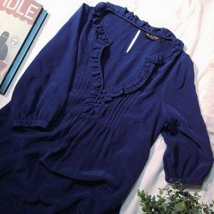 navy blue silk tunic dress w/ ruffle button collar